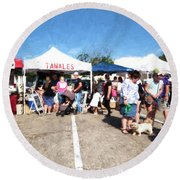 Tamales For Sale Round Beach Towel