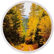 Tamarack Trail Round Beach Towel
