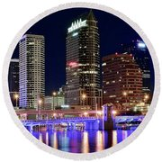Tampa Bay Pano Lights Round Beach Towel