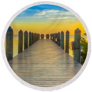 Tampa Bay Sunset Round Beach Towel