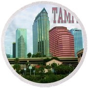 Tampa From The River Tote Round Beach Towel
