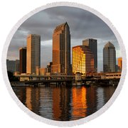 Tampa In Reflection Round Beach Towel