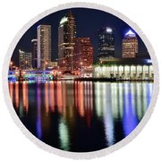 Tampa In Vivid Radiant Color Round Beach Towel