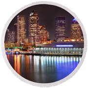Tampa Skyline At Night Early Evening Round Beach Towel