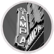 Tampa Theatre Bw Round Beach Towel