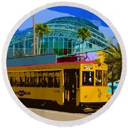 Tampa Trolley Round Beach Towel