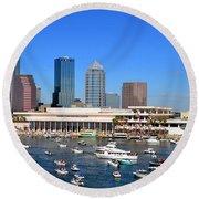 Tampa's Day Panoramic Round Beach Towel