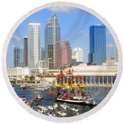 Tampa's Flag Ship Round Beach Towel