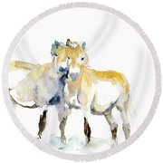 Tan Horses Round Beach Towel