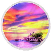 Tanah Lot Temple Sunset Bali Round Beach Towel