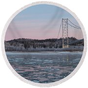 Tanana River With Pipeline - Early Morning Round Beach Towel