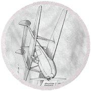 Tandem Biplane Patent Round Beach Towel