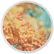 Tangerine Leaves And Turquoise Skies Round Beach Towel