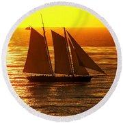 Tangerine Sails Round Beach Towel