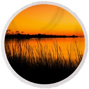 Tangerine Sunset Round Beach Towel