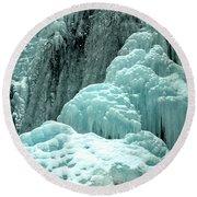 Tangle Falls Frozen Blue Cascades Round Beach Towel