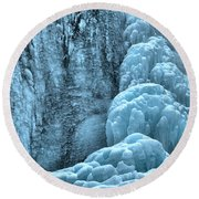 Tangle Falls Frozen In Blue Round Beach Towel