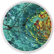 Tangled Bloom Round Beach Towel