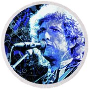 Tangled Up In Blue, Bob Dylan Round Beach Towel