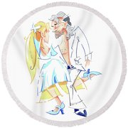 Tango Nuevo - Gancho Step - Dancing Illustration Round Beach Towel