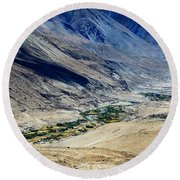 Tangsey Village Landscape Of Leh Ladakh Jammu And Kashmir India Round Beach Towel
