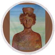 Tanit Mythical Godess Of Ibiza  Round Beach Towel