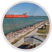 Tanker Transporting Crude Oil Round Beach Towel