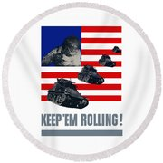 Tanks -- Keep 'em Rolling Round Beach Towel