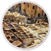 Tanneries Of Fes Morroco Round Beach Towel