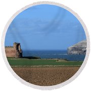 Tantallon Castle And The Bass Rock Round Beach Towel