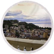 Taormina Balcony View 2 Round Beach Towel