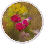 Tapestry Bouquet Round Beach Towel