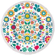 Flores Y Aves Round Beach Towel