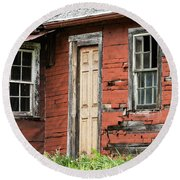 Tar-paper House Door And Windows Round Beach Towel