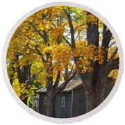 Tar Paper Shack Round Beach Towel