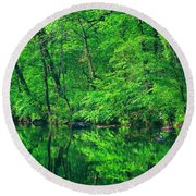 Tar River Reflection Round Beach Towel