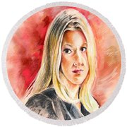Tara Summers In Boston Legal Round Beach Towel