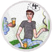 Tarot Of The Younger Self Four Of Cups Round Beach Towel