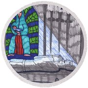 Tarot Of The Younger Self Four Of Swords Round Beach Towel