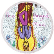 Tarot Of The Younger Self The Hanged Man Round Beach Towel
