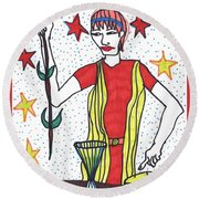 Tarot Of The Younger Self The Magician Round Beach Towel