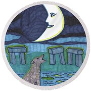Tarot Of The Younger Self The Moon Round Beach Towel