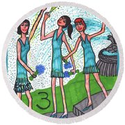 Tarot Of The Younger Self Three Of Cups Round Beach Towel