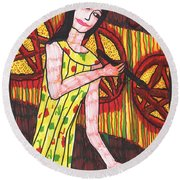 Tarot Of The Younger Self Three Of Pentacles Round Beach Towel
