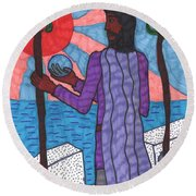 Tarot Of The Younger Self Two Of Wands Round Beach Towel