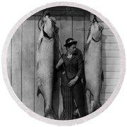 Tarpon Fishing 19th Century  Round Beach Towel
