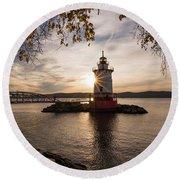 Tarrytown Lighthouse Round Beach Towel