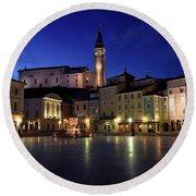 Tartini Square Plaza In Piran Slovenia With City Hall, Tartini S Round Beach Towel