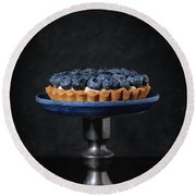 Tartlet With Blueberries Round Beach Towel