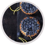 Tartlets With Blueberries Round Beach Towel